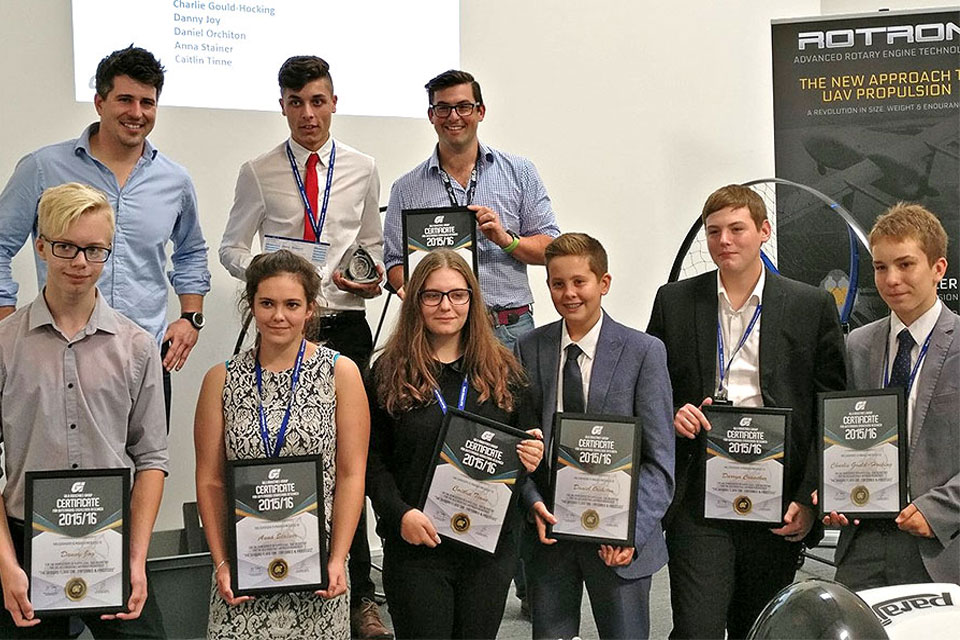 Students from South Wiltshire UTC with their Gilo Industries Awards